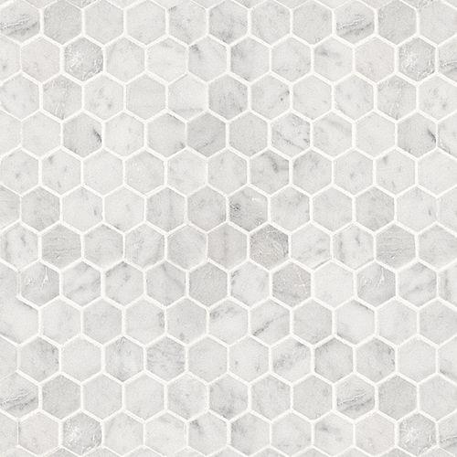 Bianco Carrara Hexagon Polished Mosaic Mosaic Bathroom Tile Hexagonal Mosaic Artistic Tile