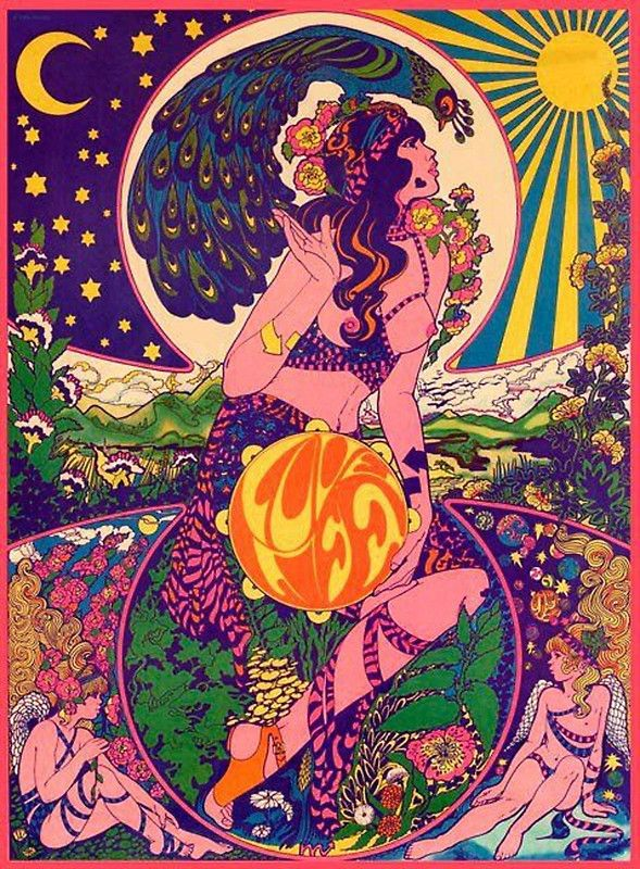 Psychedelic Band Poster Woodstock 60s 70s Drugs Trippy Hipster Hippie Vintage Rainbow Nature Peace