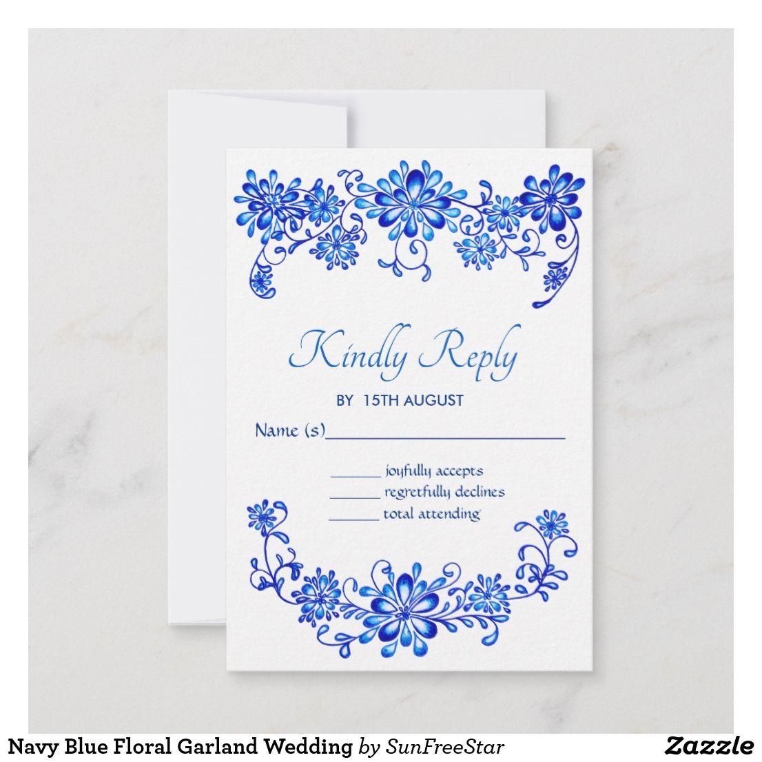 Navy Blue Floral Garland Wedding RSVP Card