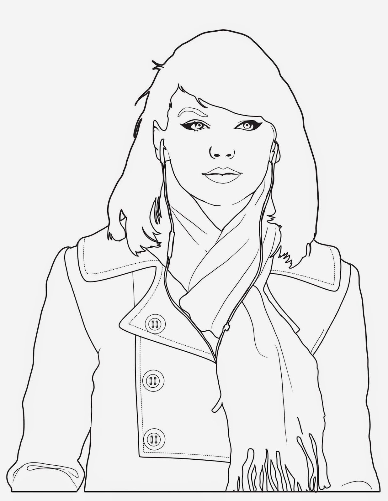Taylor Swift Coloring Pages To Print | Taylor Swift Black And White