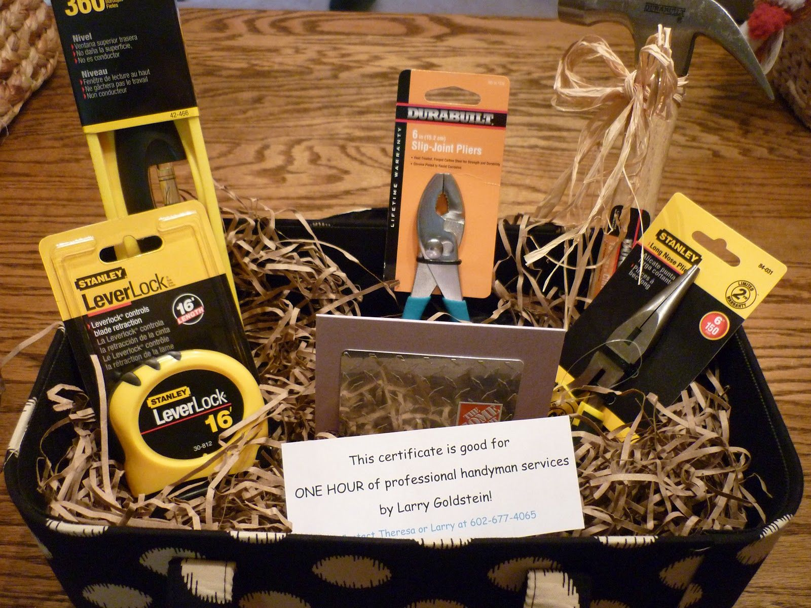 raffle prizes for men honey do basket includes 50 gift card to home depot and one