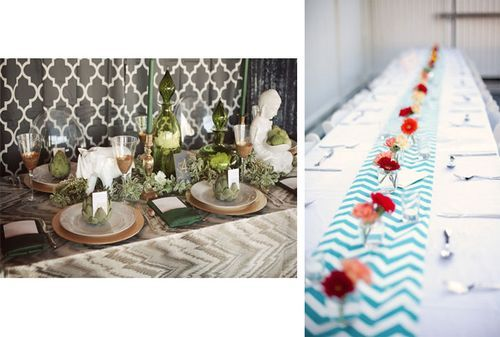 Chevron Table Runner   Dark Blue