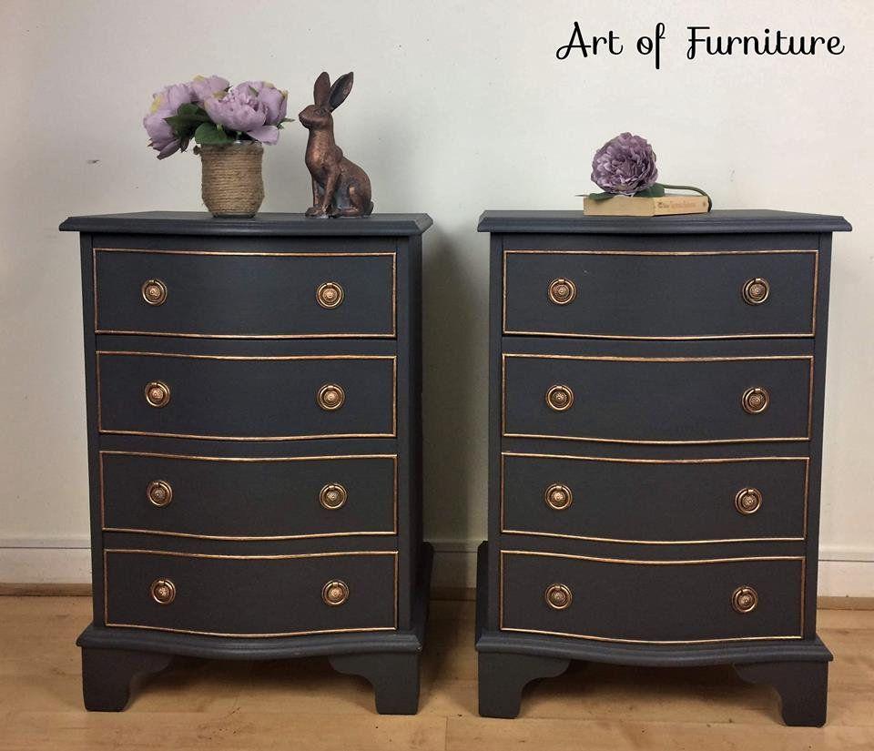 Vintage Pair Of Bedside Cabinets Side Tables Chest Of Drawers Bedside Unit Handmade Hand Painted In Fusion M Fusion Mineral Paint Mineral Paint Bedside Cabinet