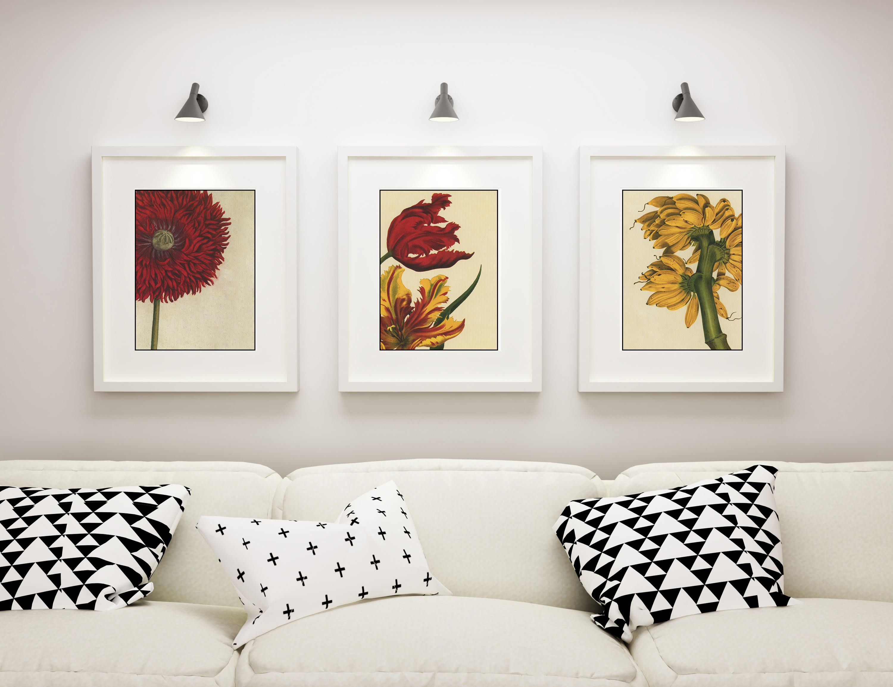 Botanical print set of 3 framed botanical prints modern botanical wall art wildflowers red flowers yellow flowers by picturebypicture on etsy
