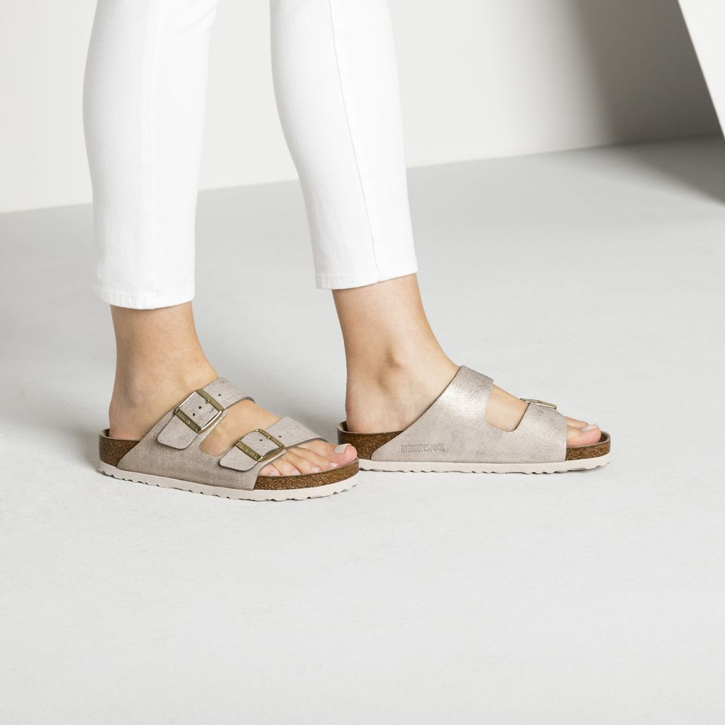 Arizona Classic Footbed Washed Rose Birkenstock Sandals Outfit Suede Leather Two Strap Sandals