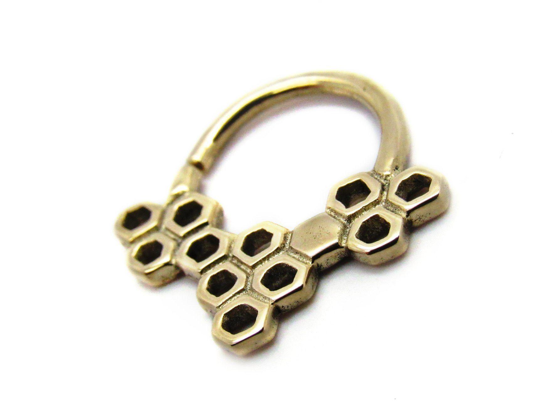 Buddha Jewelry | 14K Gold Honeycomb Seam Ring