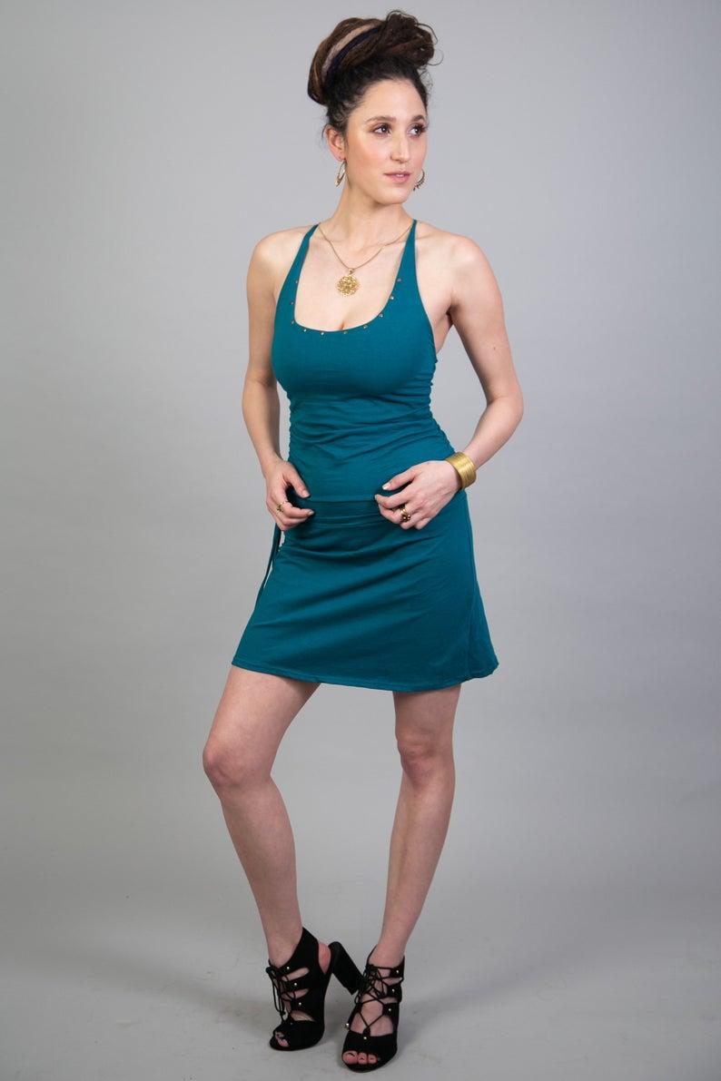 Festival Women/'s blue Dress Sacred Geometry