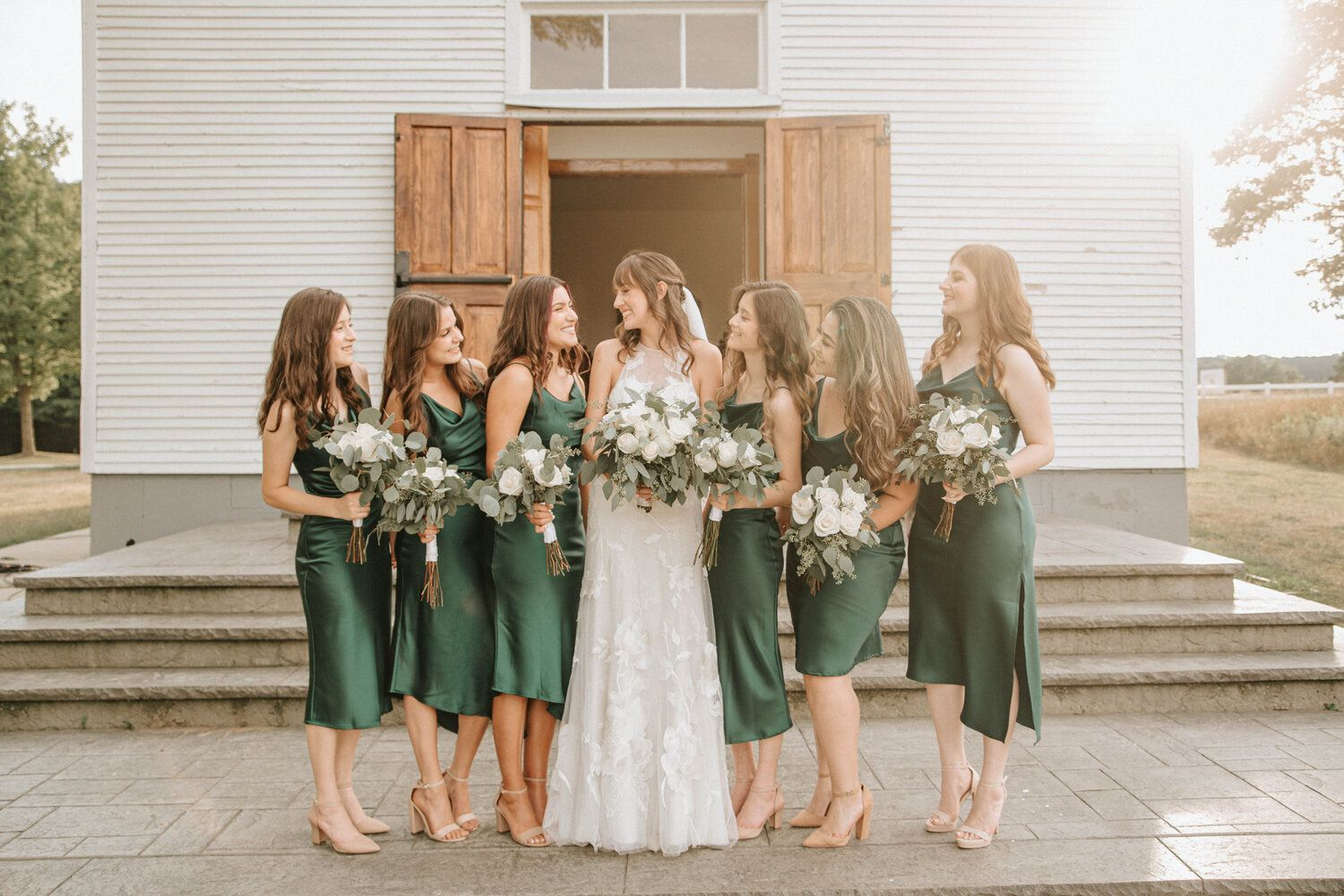 Larissa Catherine Photography In 2020 Wedding Party Photos Wedding Dresses Lace Green And White Wedding Flowers