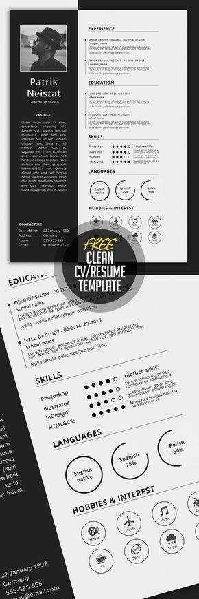 Simple CV\/Resume Template Free Download u2026 Pinteresu2026 - resume template for free download