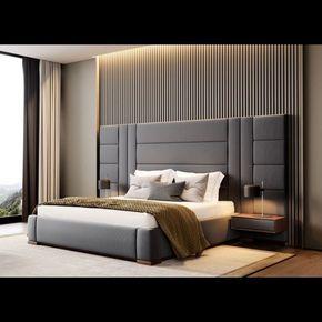 Amazon X L Bed With Huge Headboard 2 Side Tables Walnut Grey Fabric Bedroom Interior Design Luxury Modern Luxury Bedroom Luxurious Bedrooms
