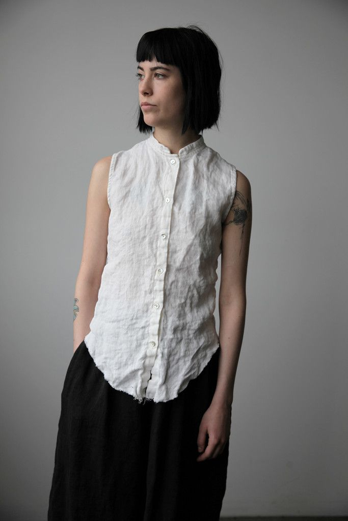 Washed Linen Sleeveless Stand Collar Shirt - Natural White   Ovate