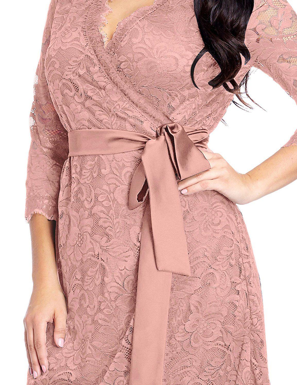 Amazon Com Lookbookstore Women 39 S Plus Size Lace 3 X2f 4 Sleeves Formal True Wrap Dress Clothing Wrap Dress Plus Size Red Dress Plus Dresses [ 1500 x 1154 Pixel ]