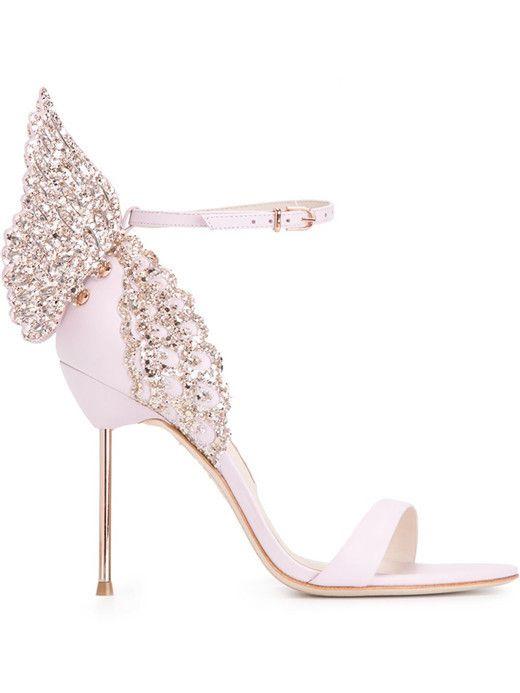 2238aacff723c9 Sophia Webster Evangeline Angel Wing Sandal Pink Glitter evening shoes  women butterfly sandals