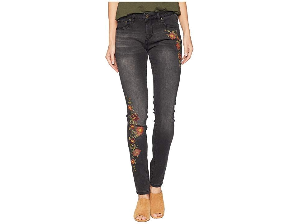 Jag Jeans Sheridan Skinny Jeans w/ Embroidery in Thorne Blue (Coal Wash) Women's Jeans. Your new favorite skinnies. Five-pocket skinny jean with beautiful floral embroidery on the front. Thorne Blue features a rich indigo wash with contrast stitching  whiskers  and sandblasting. Crosshatch denim flaunts a textured look on a supersoft stretch fabrication. Logo patch at back waist. Belt loop waistband. Zipper fly and button clos