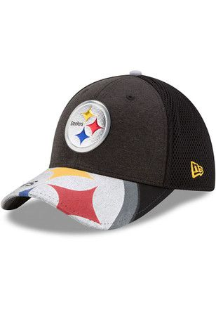 save off 082fe 1fd1c New Era Pittsburgh Steelers Mens Black 2017 On-Stage 39THIRTY Flex Hat