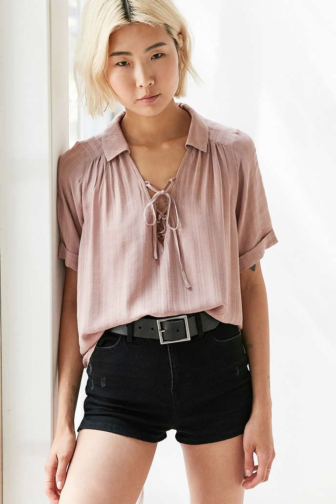 Ecote Lace-Up Blouse - Urban Outfitters 0b1f365e9