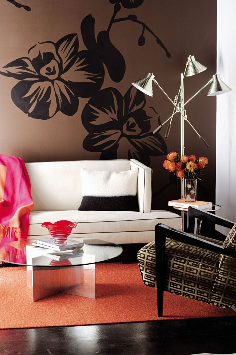 Wandgestaltung Ideen in Braun kombiniert mit Wandsticker Blumen ...
