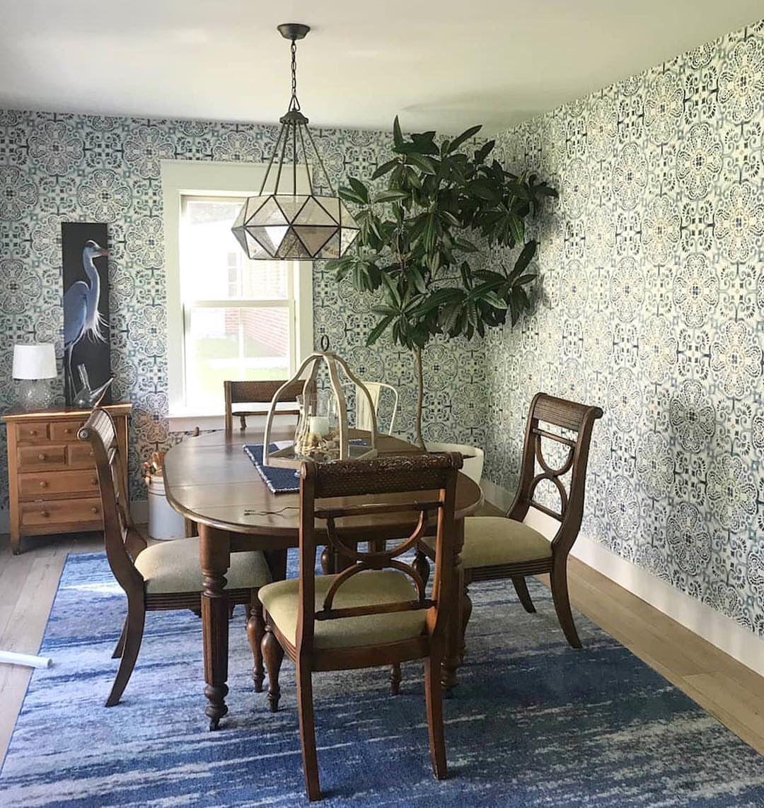 Wallpops Blue Florentine Medallion Tile Wallpaper Furniture Update Tile Wallpaper Vintage Chic