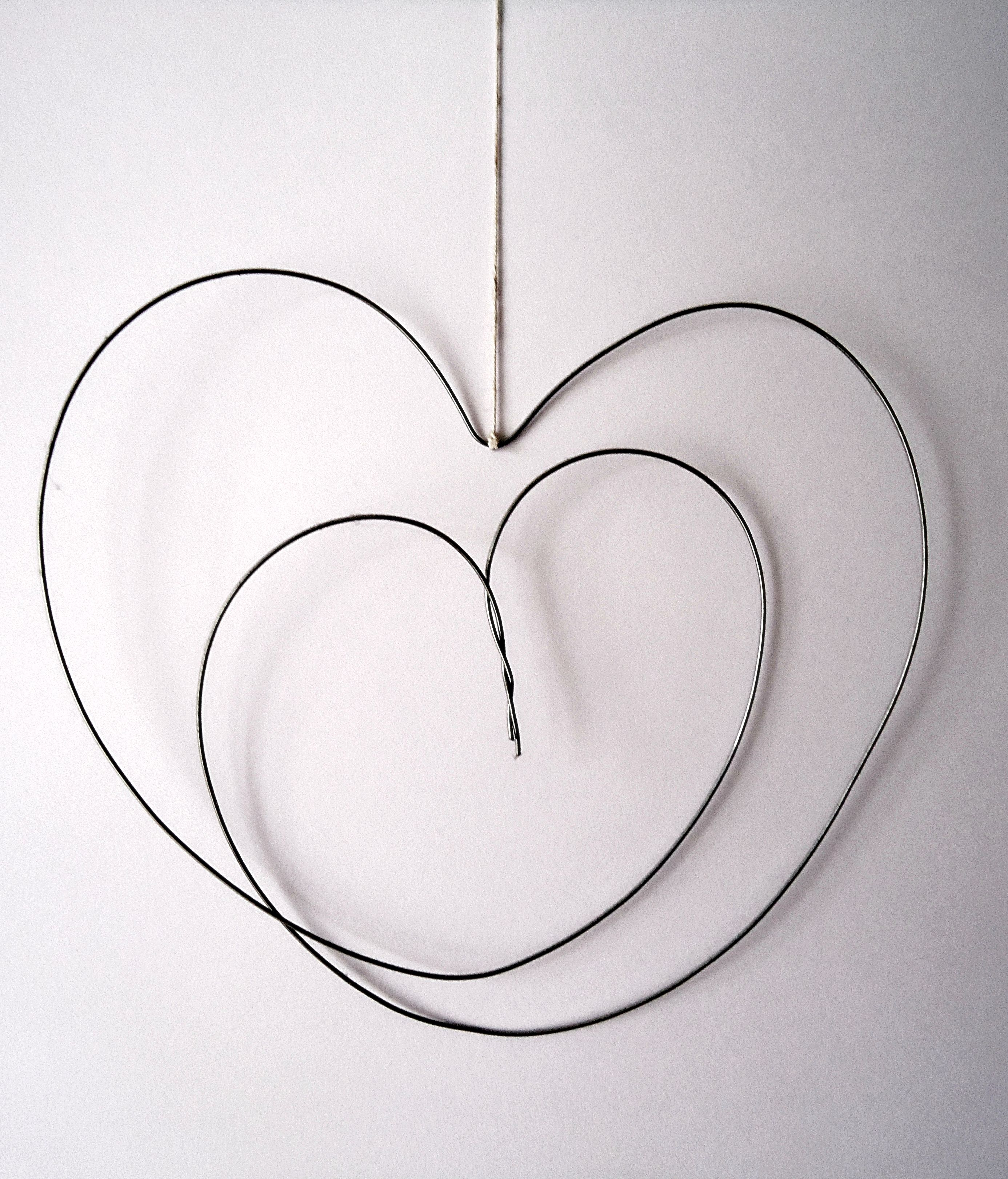 wire heart made from a hanger - cute and simple valentine decor ...