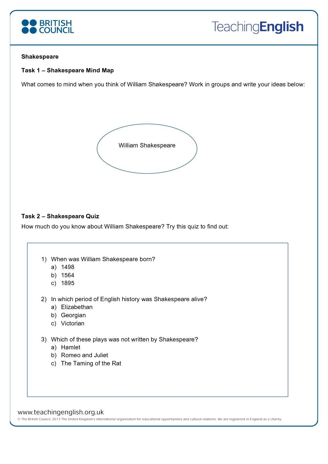 What Is History Worksheet Calameo Shakespeare Student