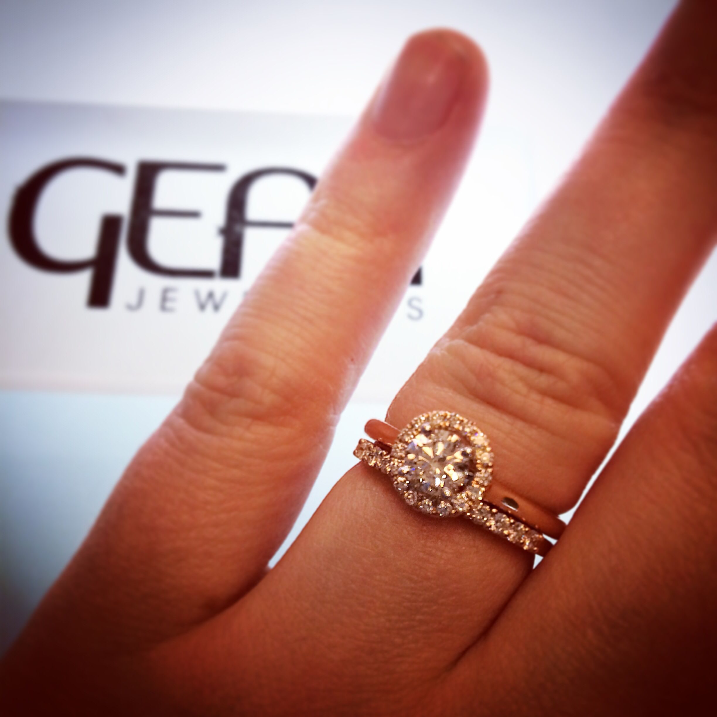 Rose gold diamond halo engagement ring from Dublin jewellers Gear