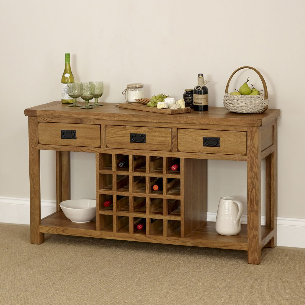 Rustic Oak Buffet Sideboard with Wine Rack
