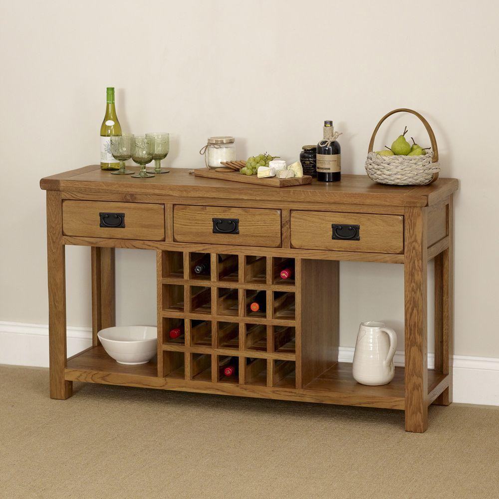 Rustic Oak Buffet Sideboard With Wine Rack Rustic Buffet Tables
