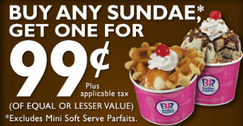 Facebook Coupon Buy One Sundae Get One For Only 99 At Baskin