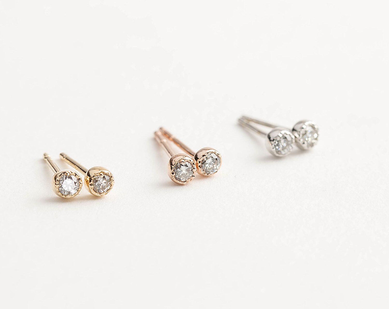Diamond Earring Studs, 14k Yellow Gold, Rose Gold, White Gold, Tiny Earrings,  Tiny Diamond Studs, Vintage Inspired Earrings, Dale101