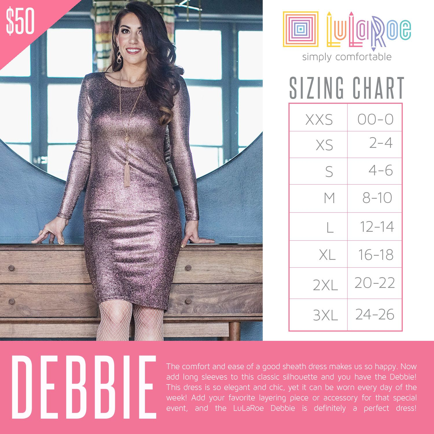 The lularoe debbie dress similar to julia but long sleeved size up depending on how snug you would like this be also rh pinterest
