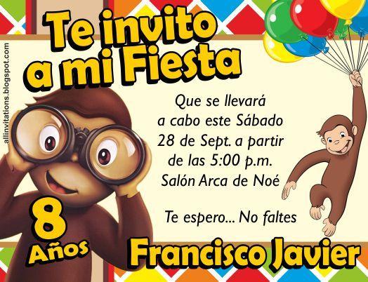 Invitación Jorge el curioso cumple jorge Pinterest Fiestas and Curious george