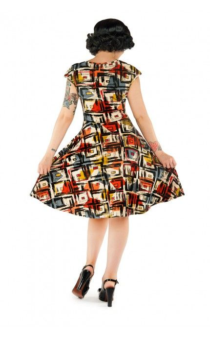 Pinup Girl Clothing- Nina Dress in Abstract Mid-Century Print | Pinup Girl Clothing