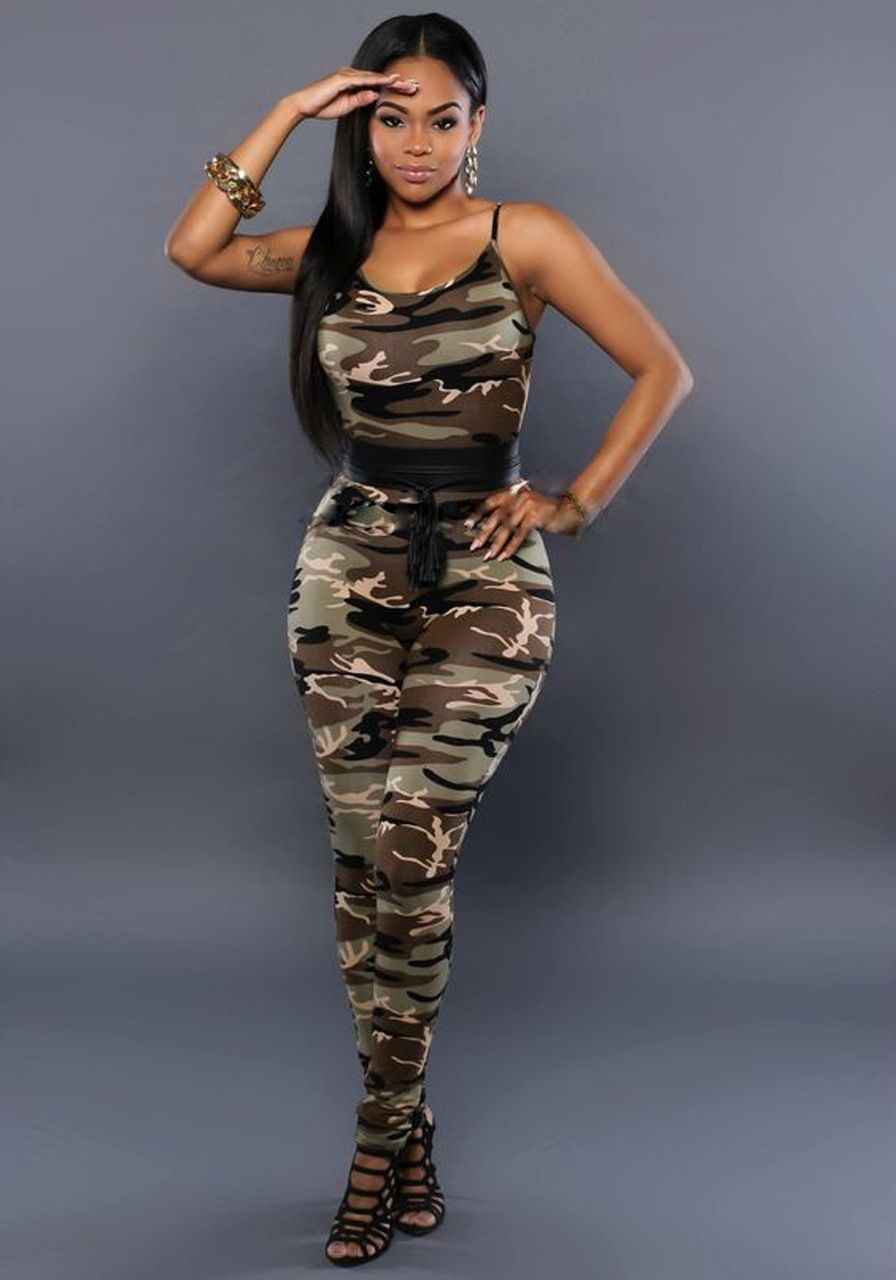 Womens Sleeveless Camo Long Jumpsuit Ladies Military Camouflage Romper Bodysuit