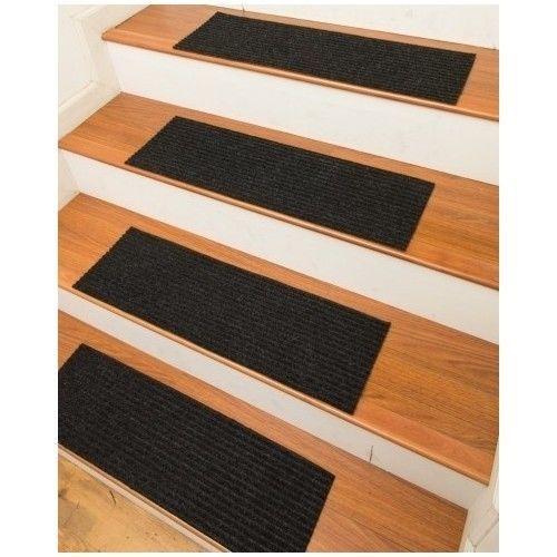Best Carpet Stair Treads Mats Black Stick Strips Pack 13 Rubber 640 x 480