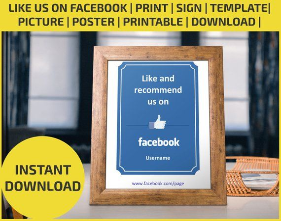 Like Us On Facebook Print Flyer Poster Editable Printable Download