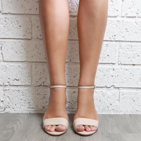 Comfortable Low Heel Wedding Shoes: Nude Low Heel Wedding Shoes, Leather Bridal Shoes
