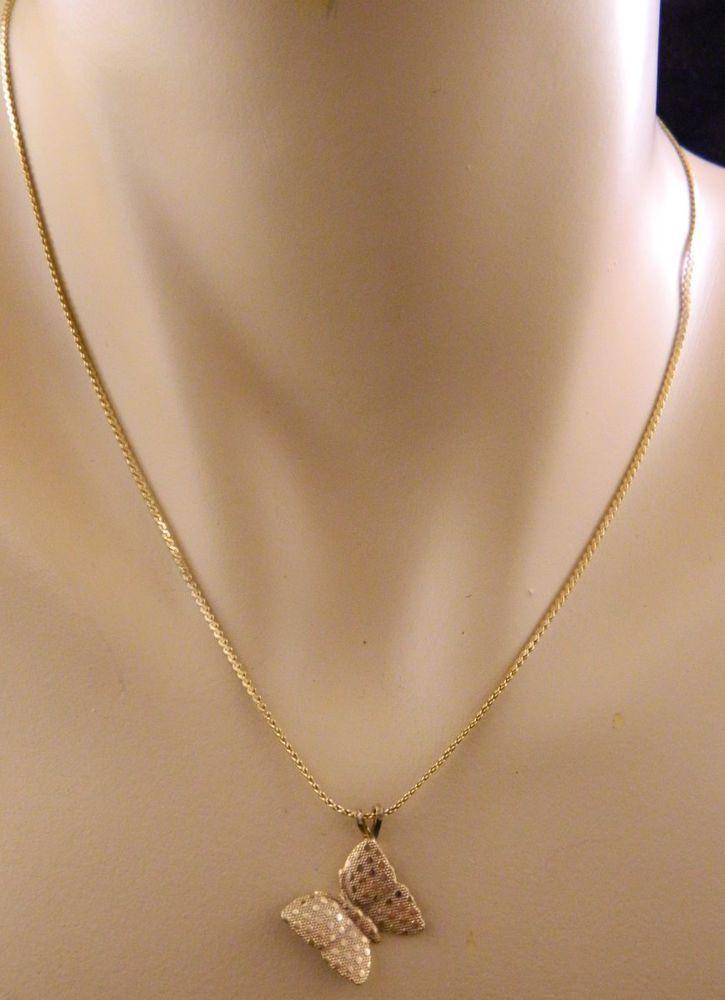 "Women's Butterfly Pendant Necklace Gold Tone 8-1/2"" Length #Pendant"