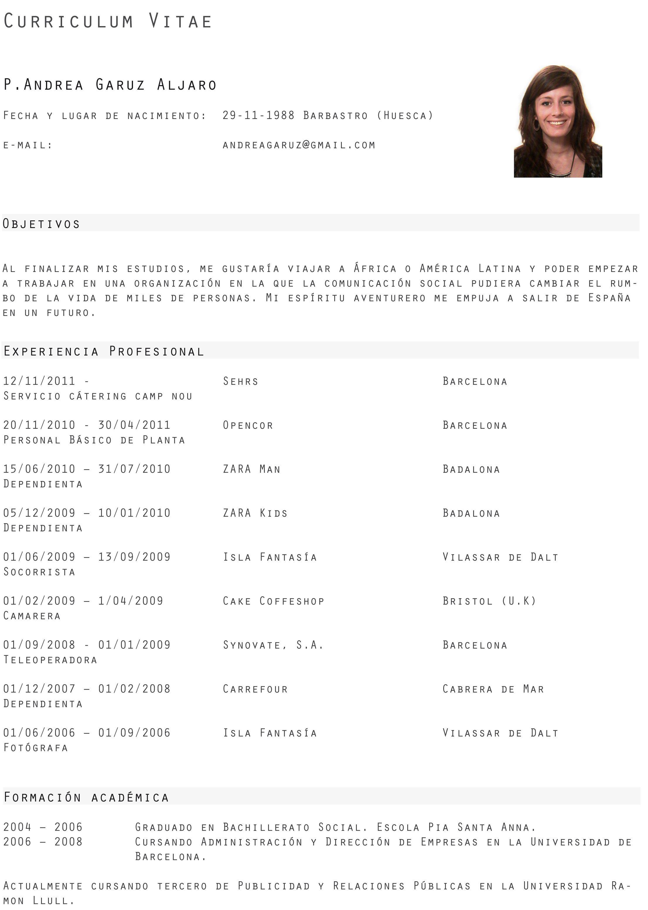 Curriculum Vitae Zara Modelos De Curriculum Vitae Ejemplos De