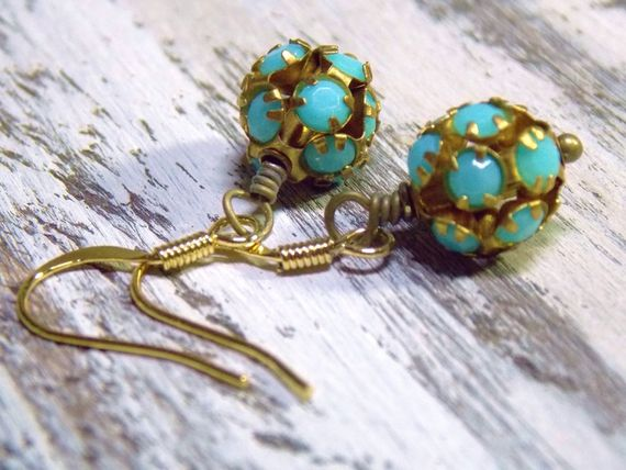 "Vintage Ball #Earrings with brass and opaque turquoise rhinestones. •Simple and light. •Made in the USA •Measures 1 1/2"" •Beads are 10mm #earrings"