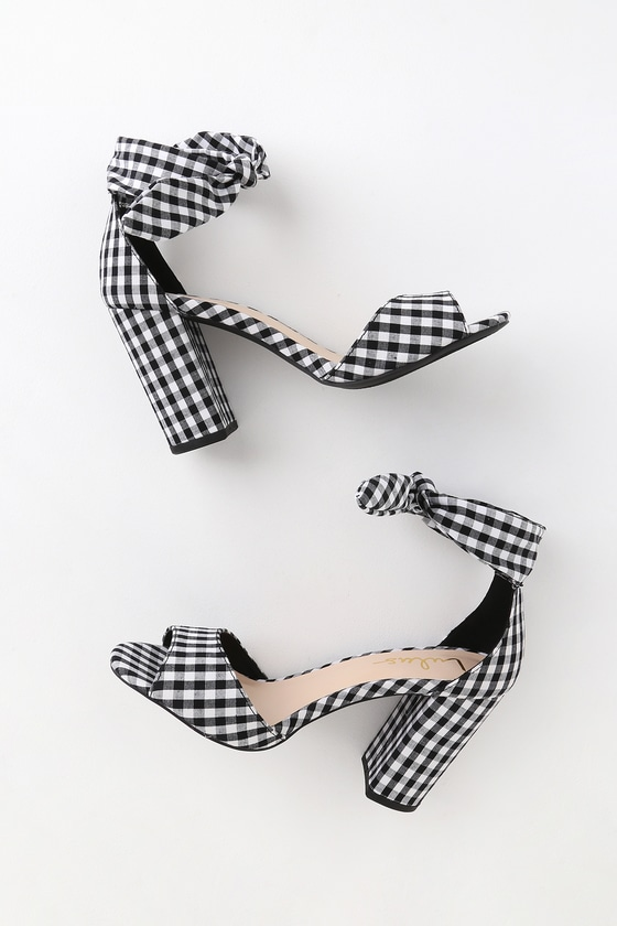 Ankle strap heels, Gingham shoes