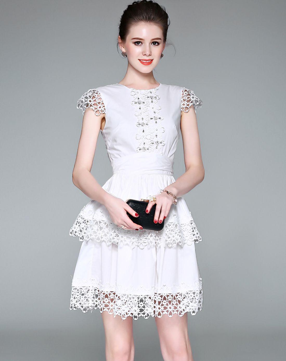 Adorewe vipme skater dressesdesigner zeraco white beaded cap