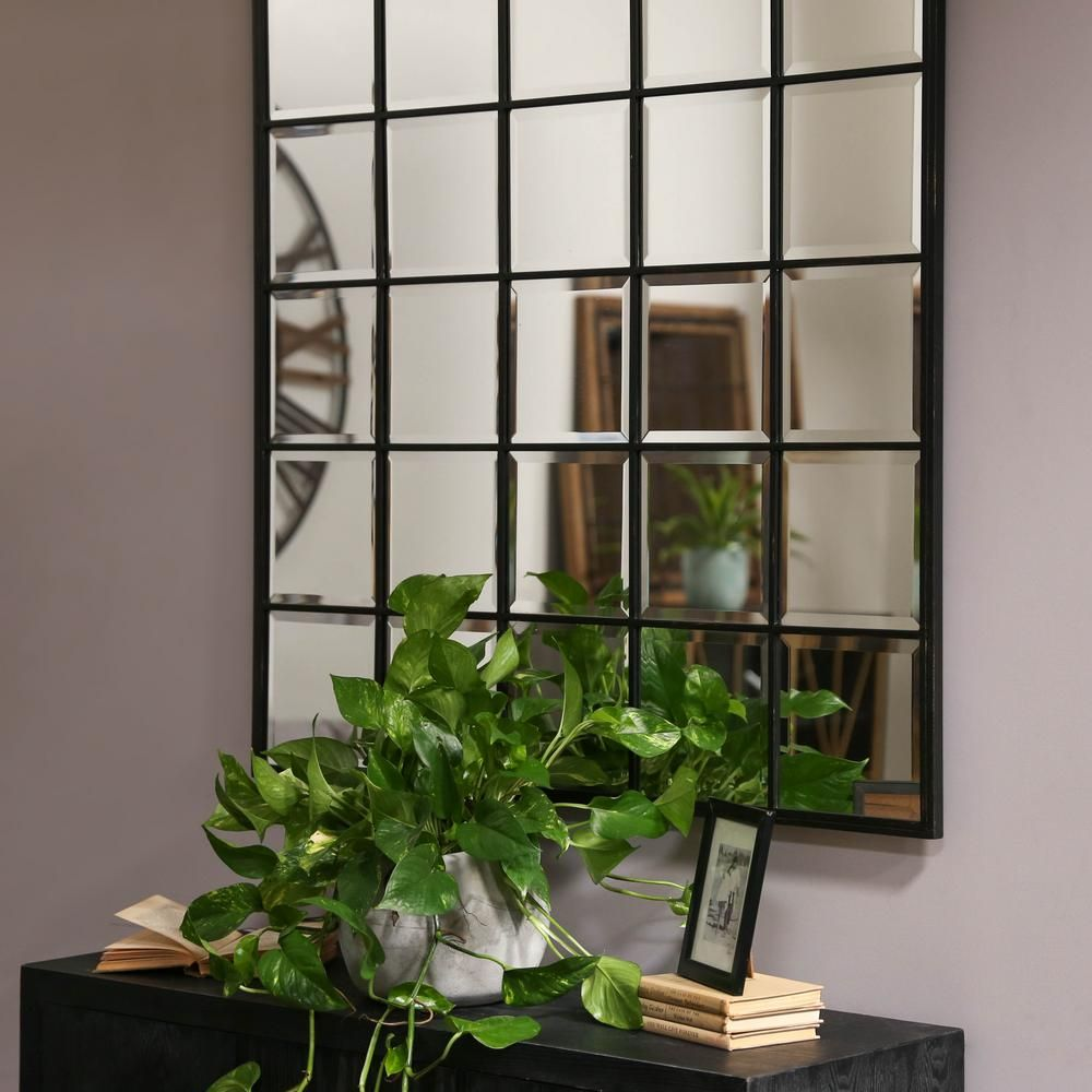 Urban trends collection square black metallic window pane wall