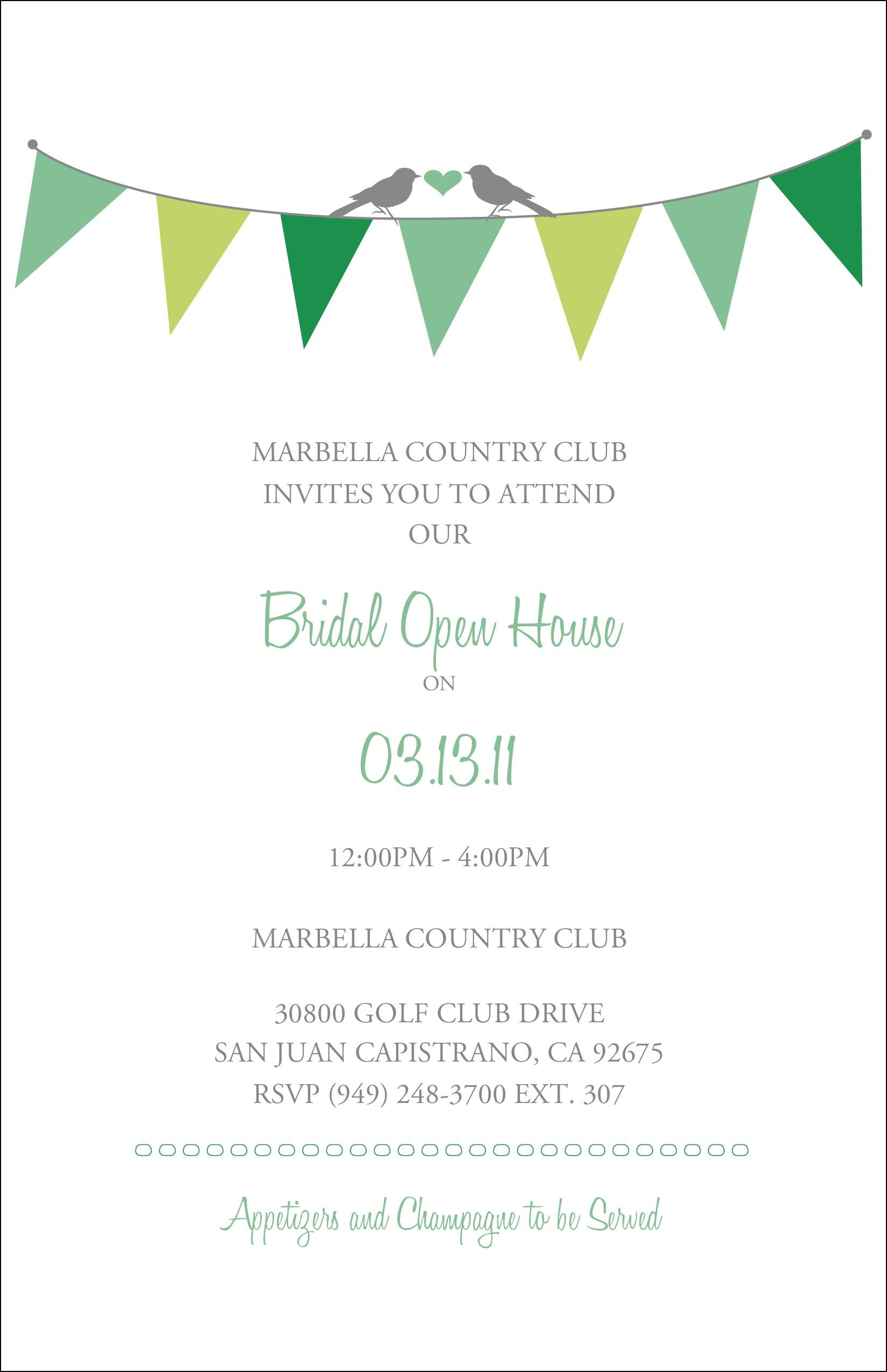 Wedding Open House Invitation Wording