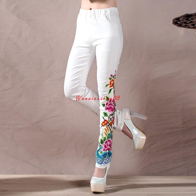Womens Lady Cotton Leggings Jeggings Embroidered Skinny Stretch Pants Trousers