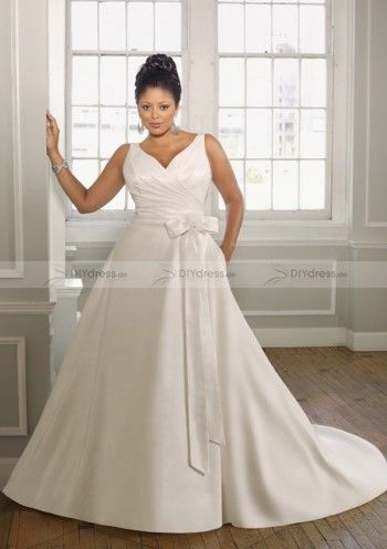 plus size v-neck wedding dress | Plus Size Hochzeit Kleider für die ...