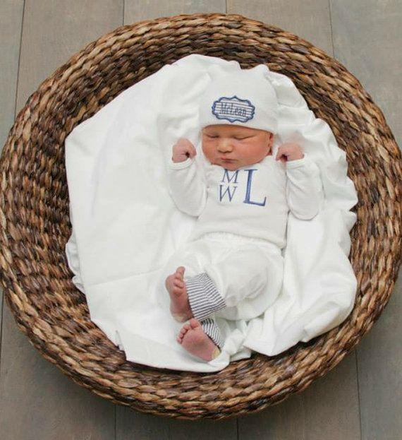 Baby Boy Coming Home Outfit Monogram Bodysuit Pants with Seersucker ...