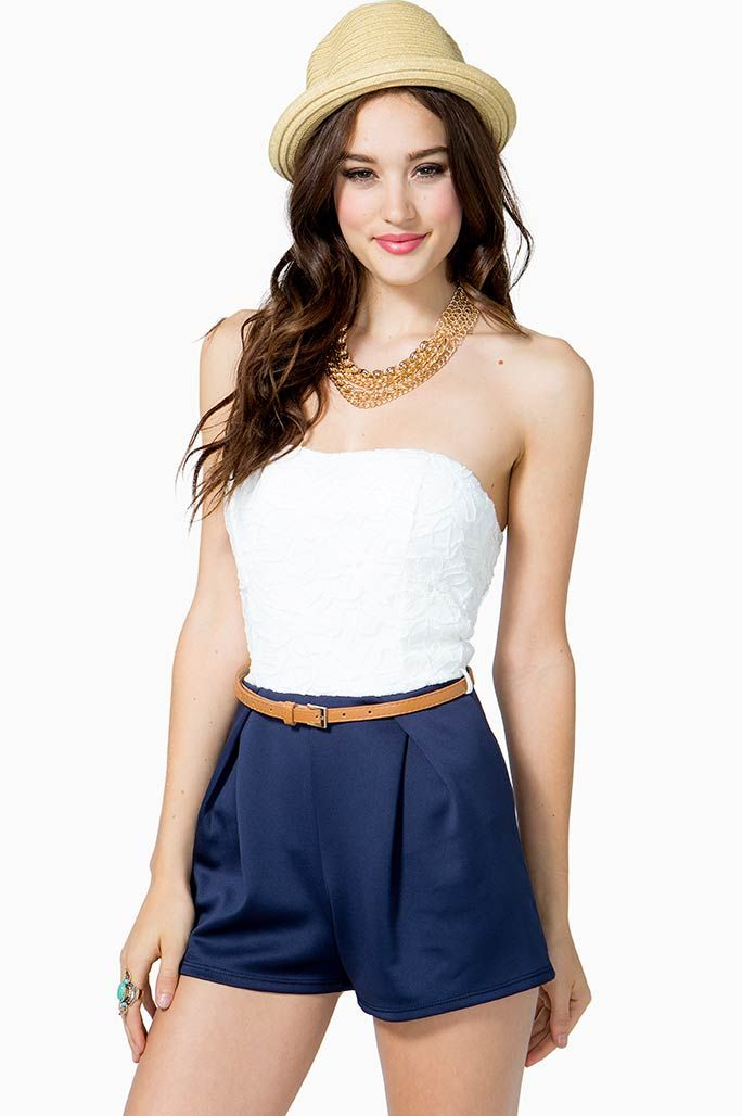 Have a waterfront jubilee in this sophisticated romper! Daisy-style lace bodice with sweetheart neckline. Clean plated scuba shorts with belt loops. Skinny belt included. Bow-style back with cutout. Finished ends. found on A'gaci