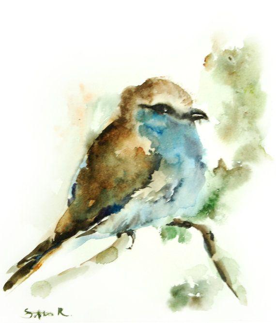 Watercolor Print of Original Watercolor Bird Painting 9.5x12.5'' - Blue Brown Bird Wall Art