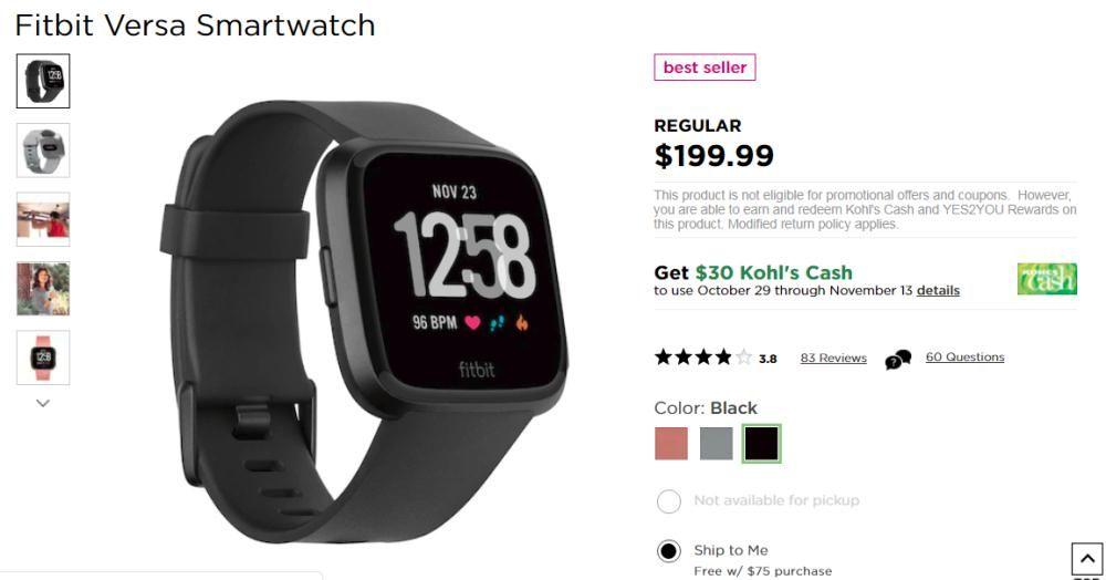 Get Fitbit Versa Smartwatch Only 200 Plus 40 Kohl S Cash Kohl S Offers The Fitbit Versa Smartwatch Kohls Smart Watch Fitbit