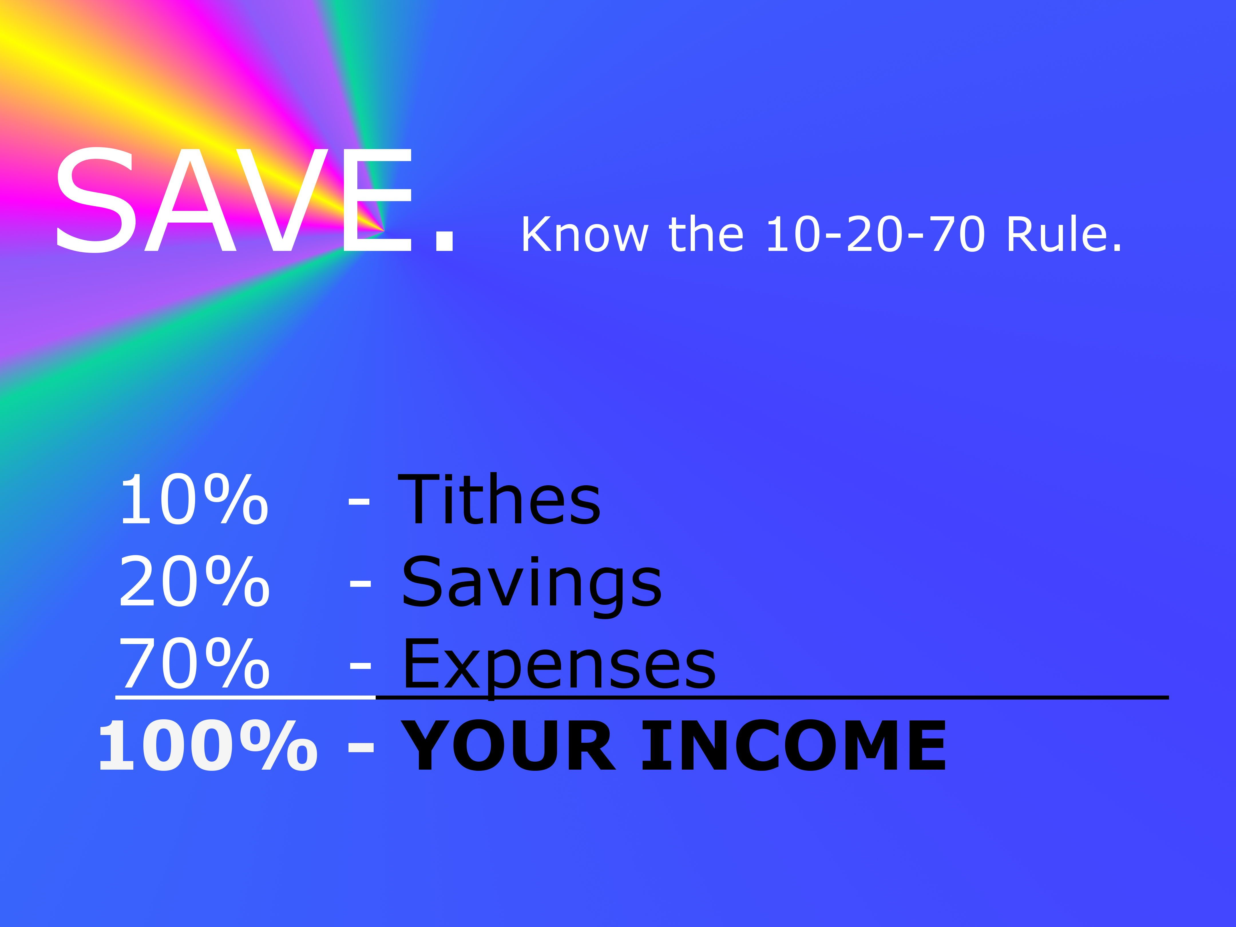 This is the 10 20 70 formularule for spending income it shows that this is the 10 20 70 formularule for spending income it shows that you must first give back to god next is to separate your personalfamily savings fandeluxe Choice Image